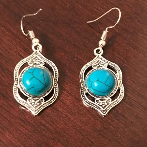 6e680ac54 Jewelry | Beautiful Retro Tibetan Turquoise Silver Earrings | Poshmark